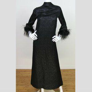 Vintage Brocade Ostrich Feather Cuff Maxi Dress